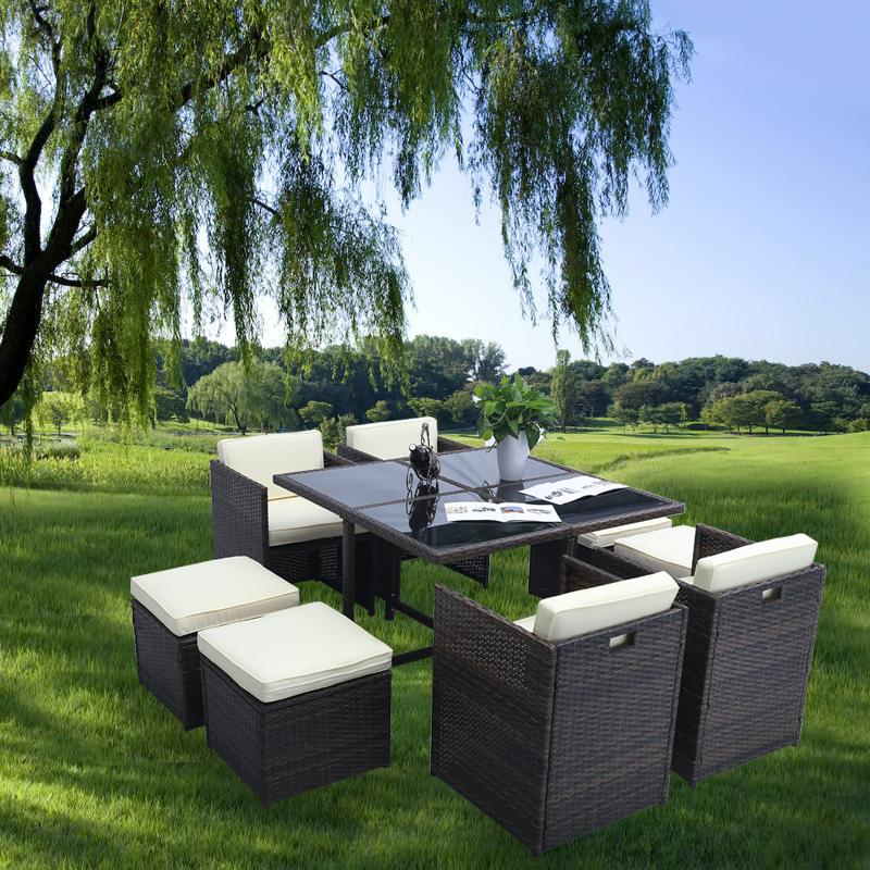 gartenbar sitzgarnitur tisch rattan barset gartenm bel sitzgruppe mit 8 st hlen ebay. Black Bedroom Furniture Sets. Home Design Ideas