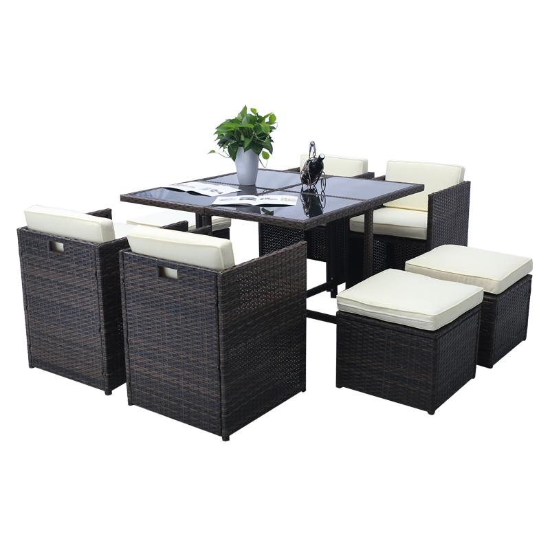 gartenbar sitzgarnitur tisch rattan barset gartenm bel sitzgruppe mit 8 st hlen. Black Bedroom Furniture Sets. Home Design Ideas