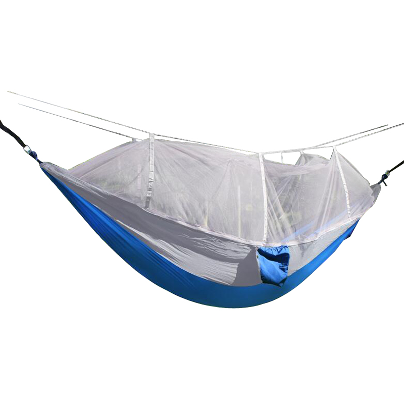 mehrpersonen h ngematten moskitonetz hammock mit net outdoor camping 300kg blau ebay. Black Bedroom Furniture Sets. Home Design Ideas