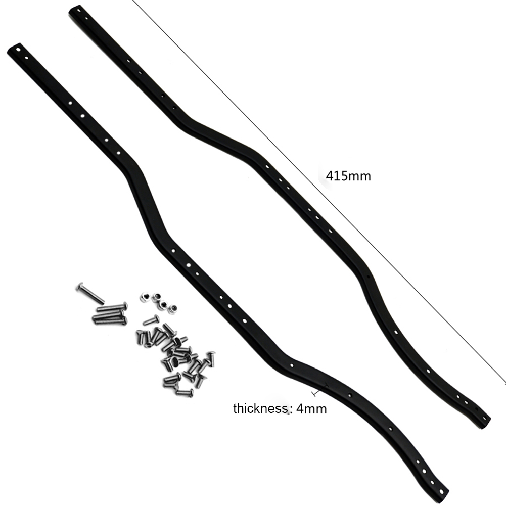 Black Stainless Steel Chassis Frame Rails For RC 1/10 Axial SCX10 ...