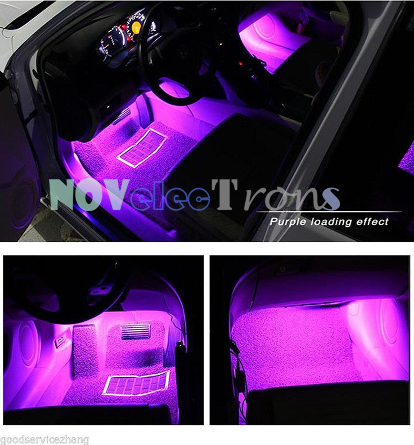 car interior rgb color led 4 strip light atmosphere decorative smd neon lamp 12v ebay. Black Bedroom Furniture Sets. Home Design Ideas