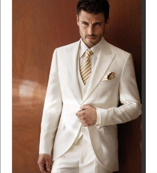 Mens 3pcs White/Ivory Tailored Wedding Suits Formal Tuxedo Cocktail ...