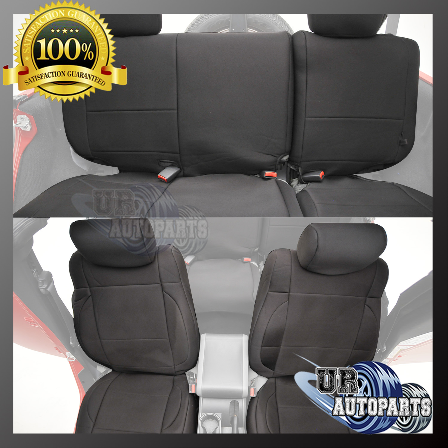 51 9320u2014u2014EAG Black Neoprene Front And Rear Seat Covers For 07 17 Jeep  Wrangler JK 4D