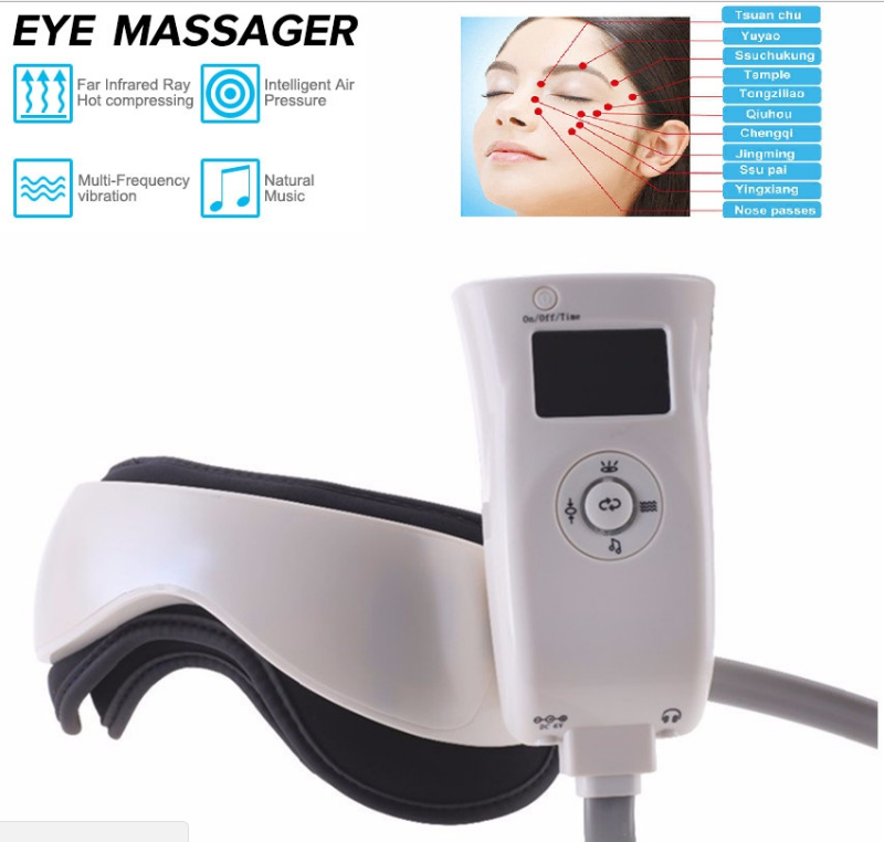 Electric Air Pressure Eye Head Massager Infrared Heat Vibration