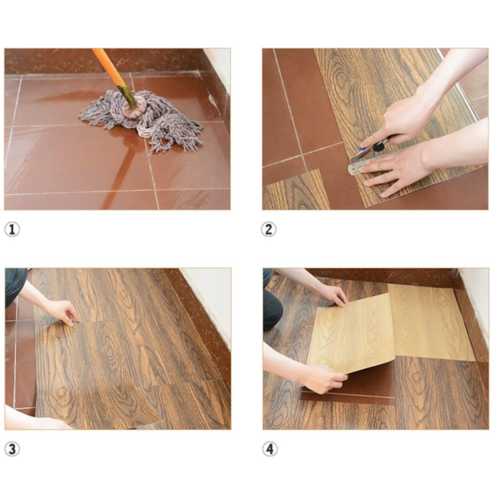 6pcs Wood Pattern Waterproof Pvc Floor Tile Self Adhesive