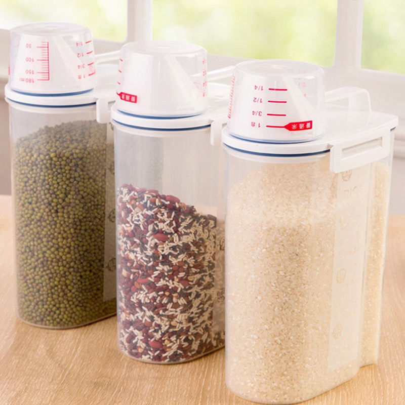 2L Plastic Kitchen Food Cereal Grain Bean Rice Storage Container Box