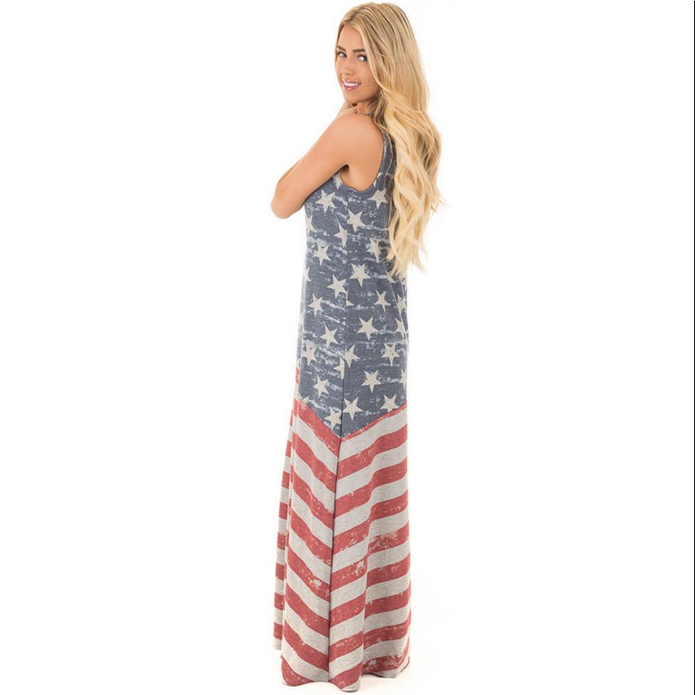 American Flag Vintage Loose Womens Maxi Dress Stars Stripes Plus ...