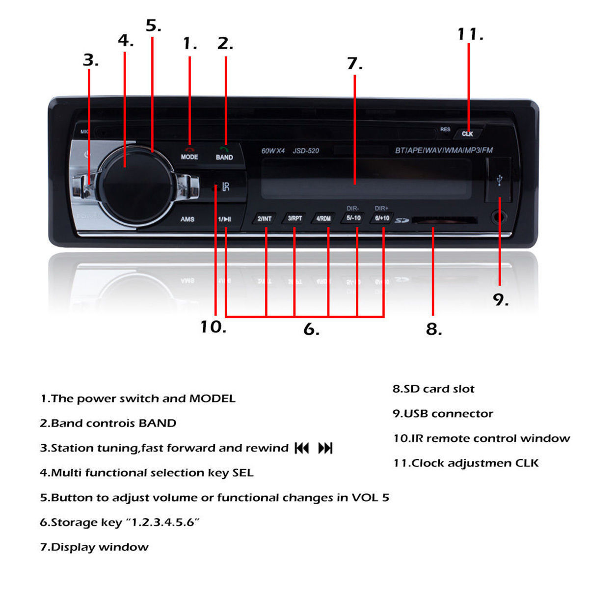 Car Radio 12v Auto Audio Stereo 1din In Dash Mp3 Player Support Fm Usb Circuit Diagram With Iso Port Which Can Connect The Loud Speaker
