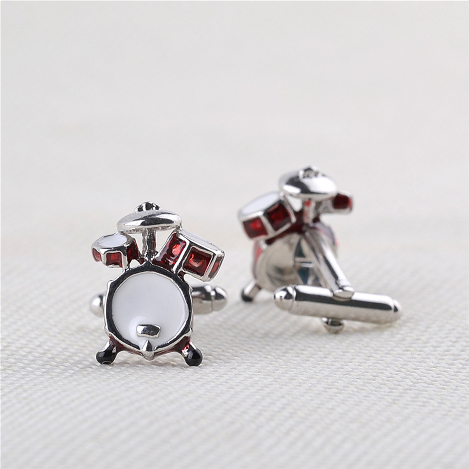 NEW Red/&White Enamel Cufflinks Mens Wedding Novelty Drum Kit Cuff Links Gift