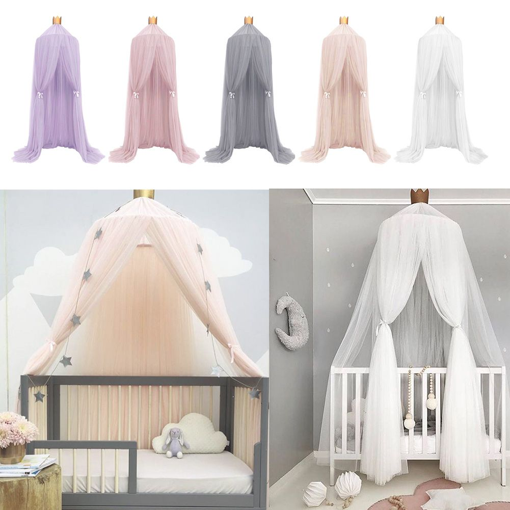 Crib round dome princess bedding hanging canopy mosquito for Hanging canopy over bed