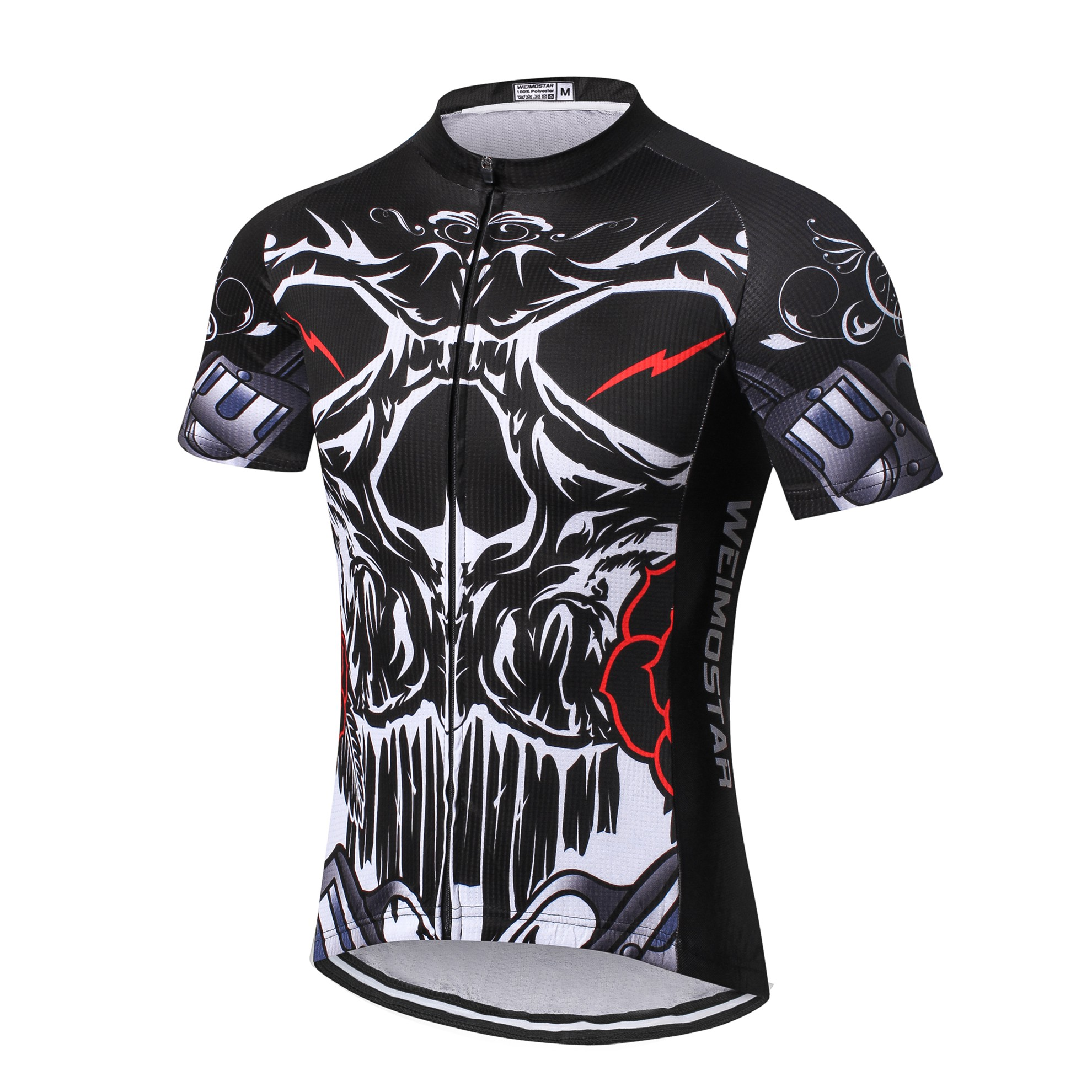 Weimostar Men Cycling Jersey Bike Clothing Skull Black Bicycle Shirt Tops S-3XL