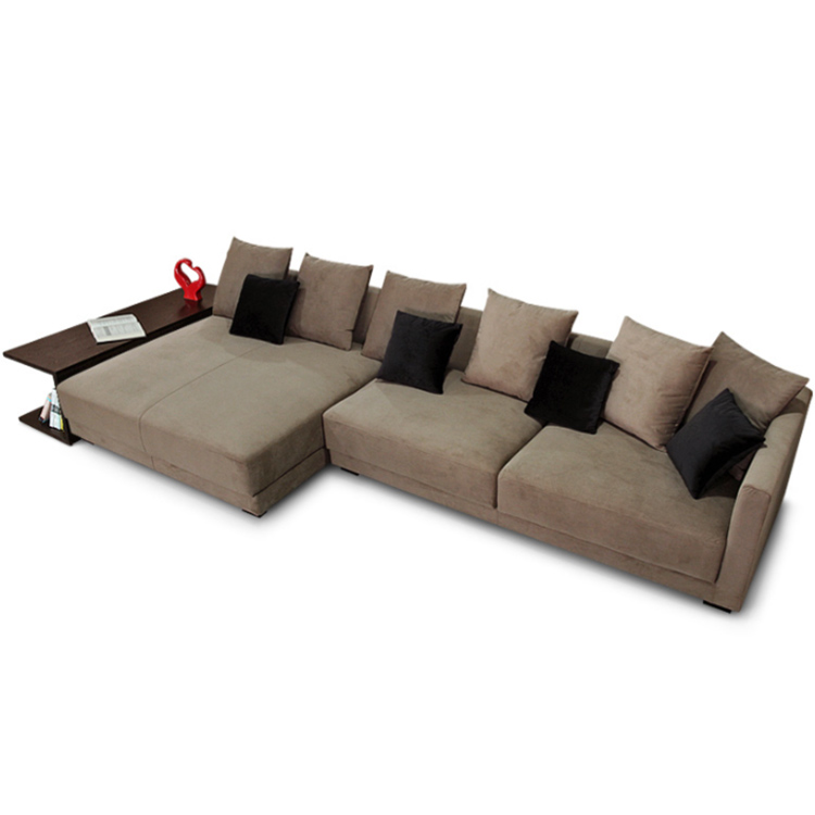 Modern Velvet Fabric Right Chaise Lounge Sectional Sofa