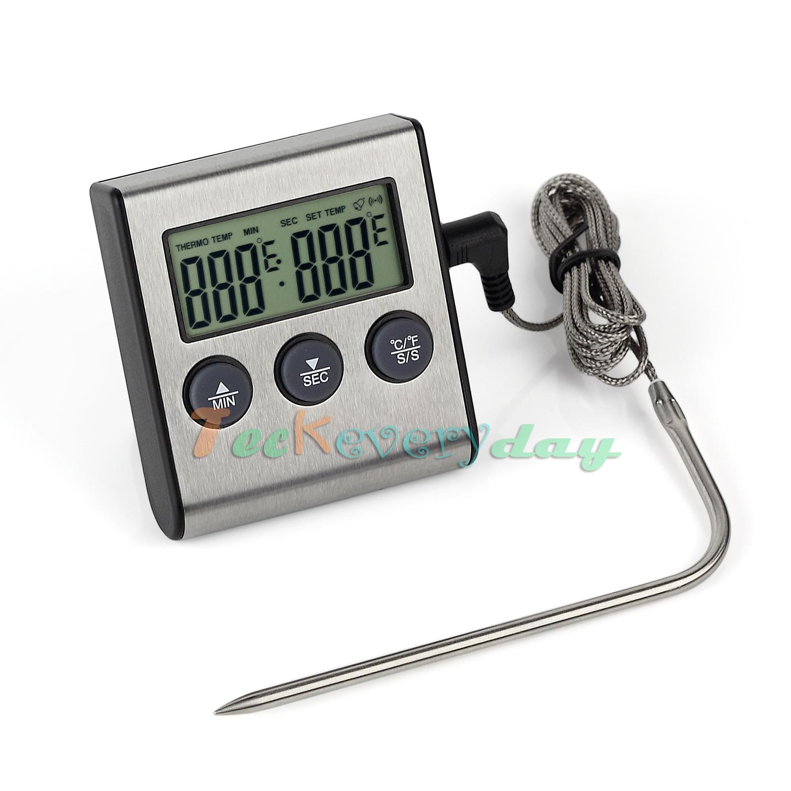 Food Digital Probe Oven Thermometer Timer Temperature C/F Sensor Cooking Meat UK   eBay