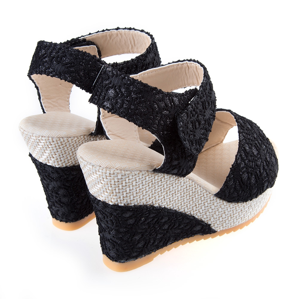 Womens Ladies Mid High Hell Strappy Platform Wedge Peep Toe Summer Sandals AUS