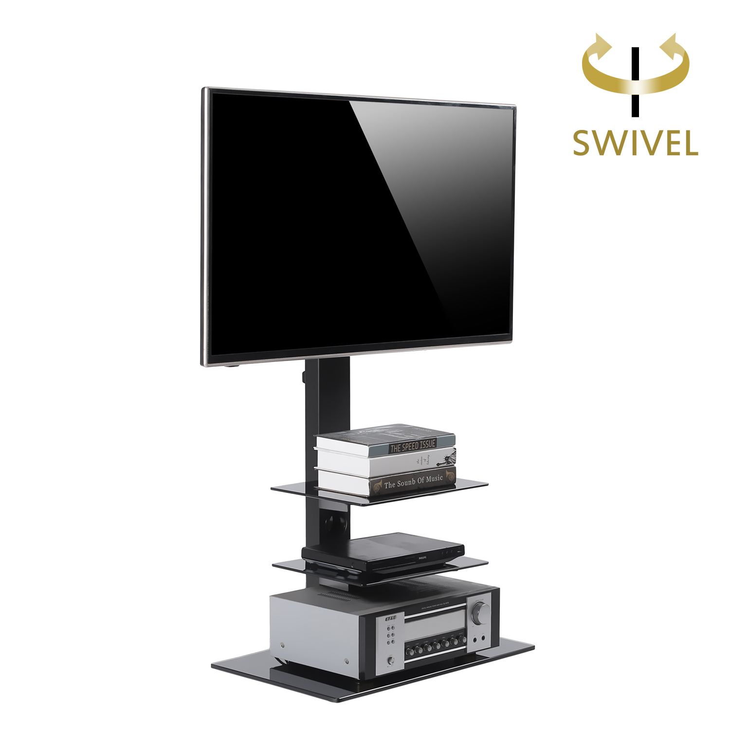 rfiver swivel tv stand with mount for 32 to 65 inch tf2002 3 shelf ebay. Black Bedroom Furniture Sets. Home Design Ideas
