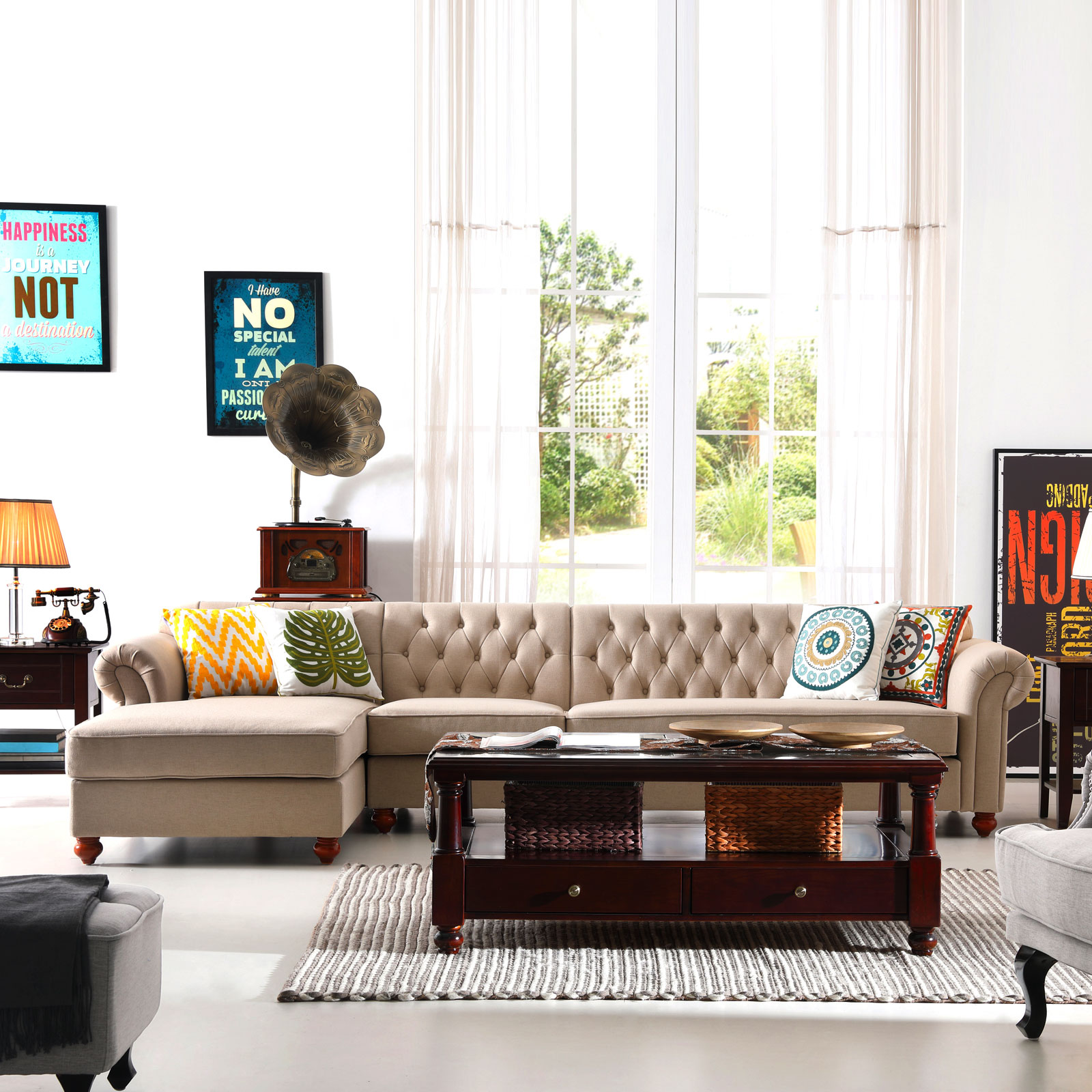 Sectional Couch Sofa Set Chesterfield Tufted Button Sofa Right Chaise  Lounge New