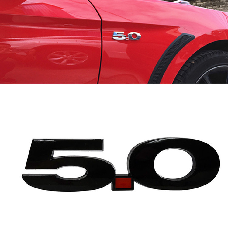 2x 5.0 Door Fender Side Emblem Badge Plate w// Adhesive for Ford Mustang GT 5.0