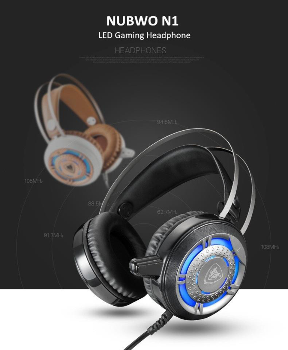 Nubwo N1 Gaming Headphones Foldable Led Light Deep Bass Stereo Headshet No040 1 X Adapter Cable