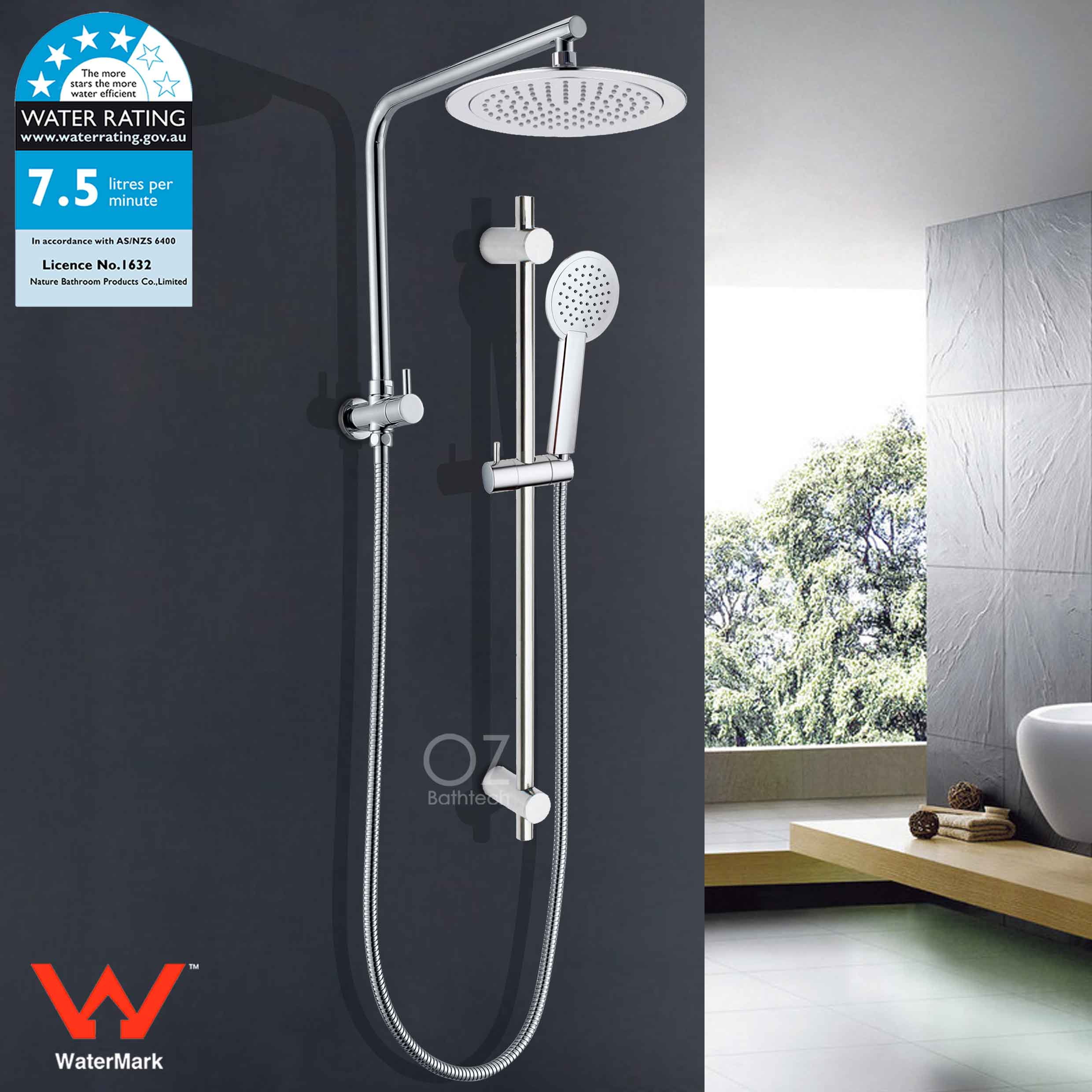 Details About 9 Round Rain Shower Head Diverter Wall Arm Set Handheld Sliding Rail Kit Chrome