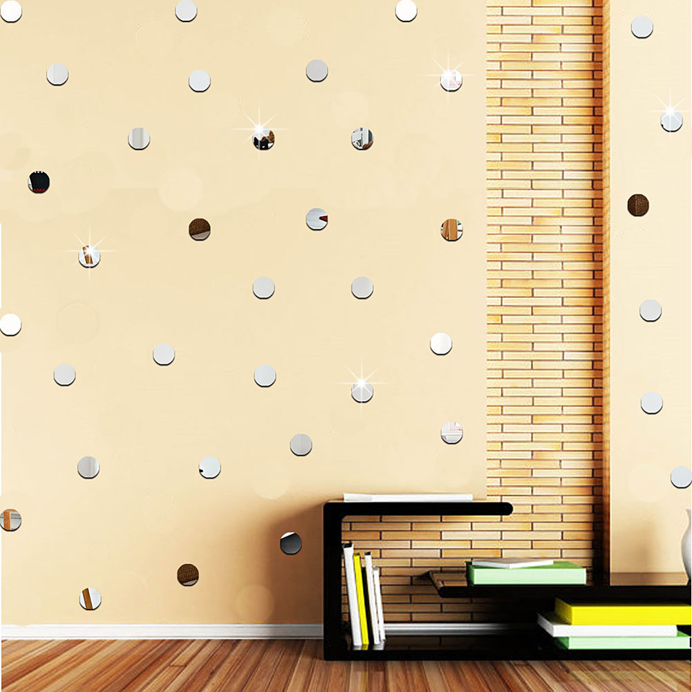 50pcs acryl kleine runde spiegel wandaufkleber wohnzimmer schlafzimmer dekor ebay - Kleine runde spiegel ...