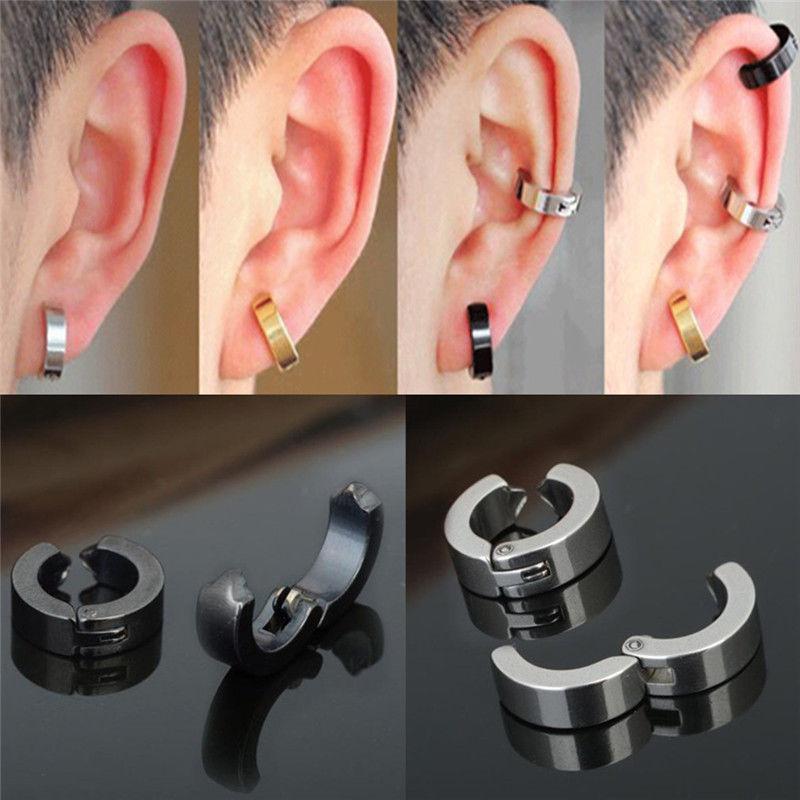 2x homme femme boucles d 39 oreille anneau faux piercing clous helix cartilage stud ebay. Black Bedroom Furniture Sets. Home Design Ideas