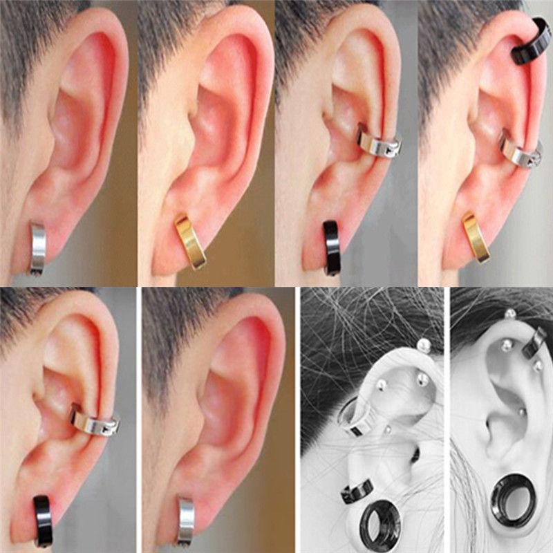 2x homme femme boucles d 39 oreille anneau faux piercing. Black Bedroom Furniture Sets. Home Design Ideas