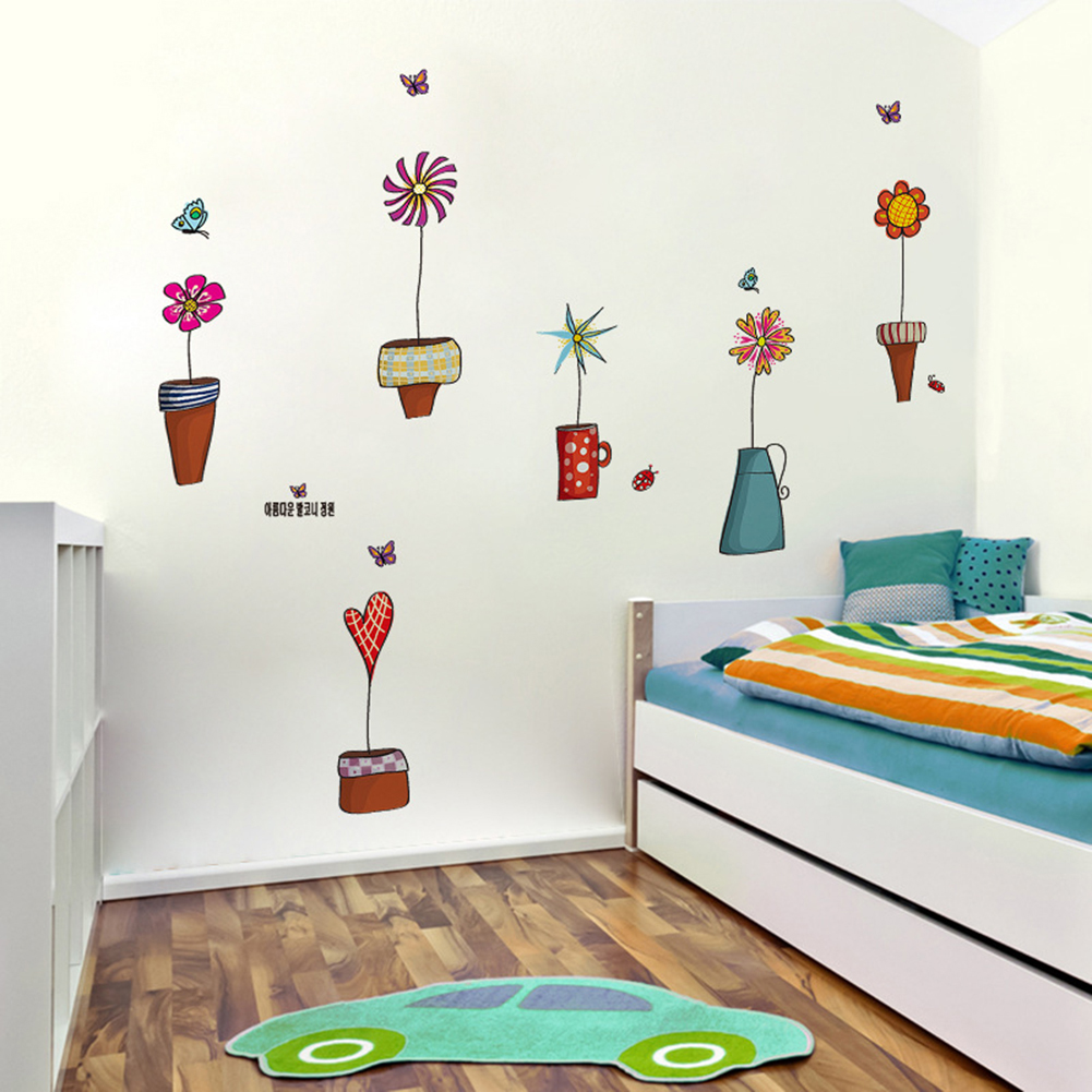 diy blumen schmetterlings wand aufkleber wandtattoo kinderzimmer wandbild dekor ebay. Black Bedroom Furniture Sets. Home Design Ideas