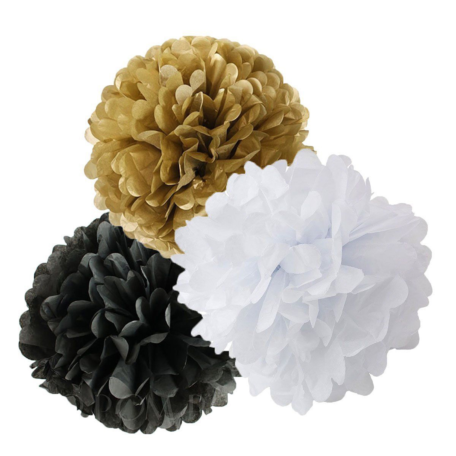 22pcs Black Gold White Tissue Pom Poms Paper Flowers Lanterns For