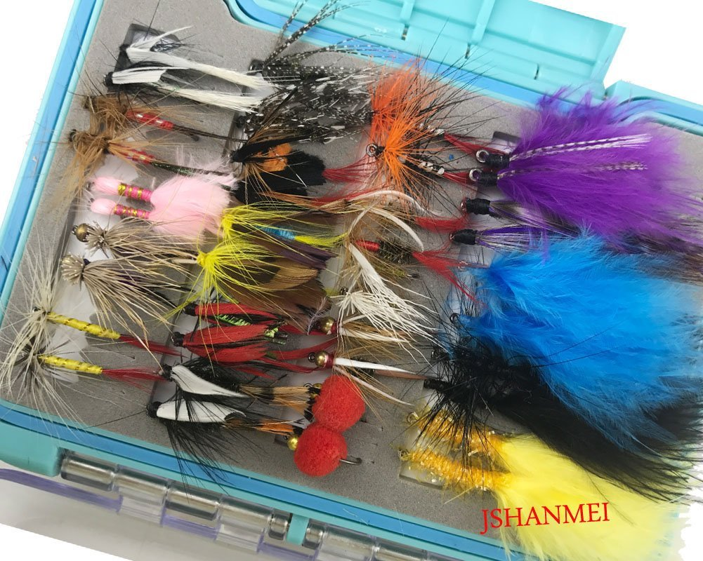 Fly fishing flies lures set 94pc dry fly wet fly lure for for Fish mox amazon