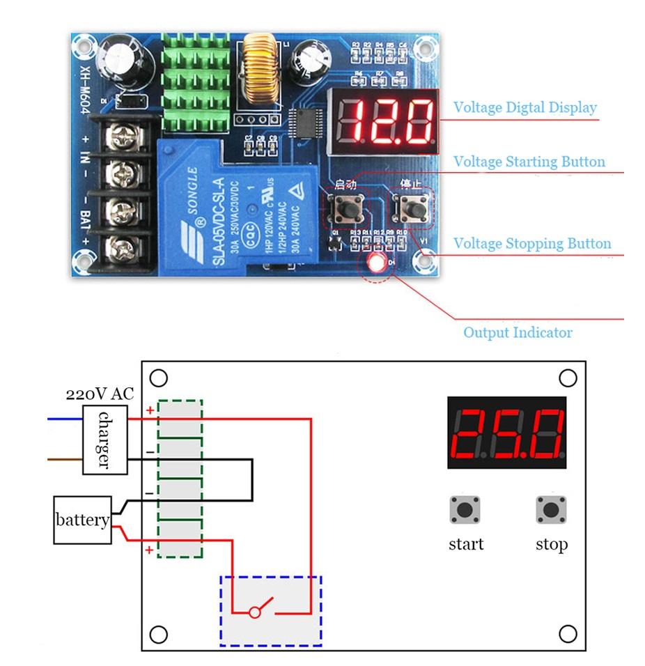 6 60v Lead Acid Battery Charging Controller Protectionswitch 12v 24v Diagram 48v Xh M604