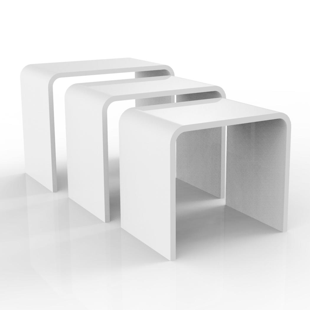 Contemporary Coffee Table In White High Gloss 8738: MODERN DESIGN WHITE HIGH GLOSS NEST OF 3 COFFEE TABLE/SIDE