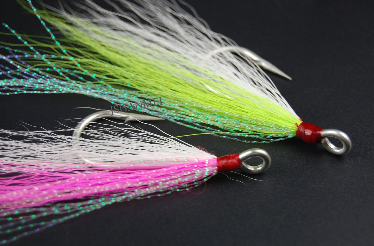 8//16pc Bucktail Teasers Fishing Hook Saltwater fishing jig Fluke Flounder Lures