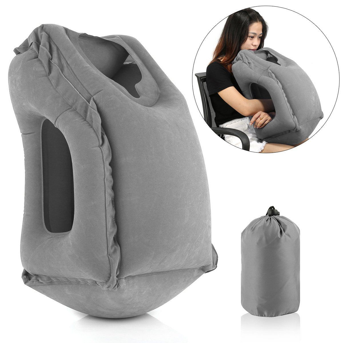 newest inflatable air cushion travel pillow head neck. Black Bedroom Furniture Sets. Home Design Ideas