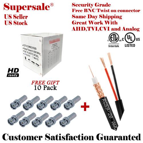 RG59 BLACK 500FT BULK SIAMESE CABLE 20AWG+18/2 CCTV SECURITY CAMERA ...