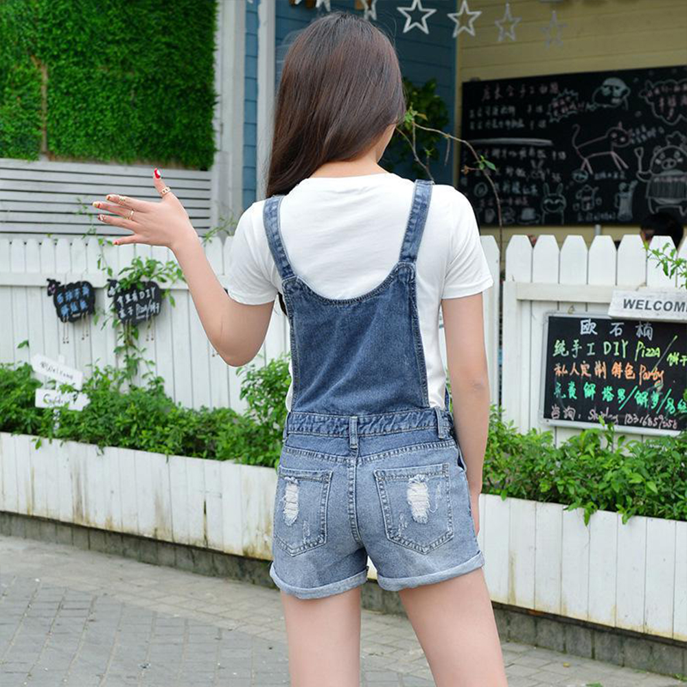 695cc373e90 Women Girls Denim Strap Holes Shorts Suspender Overalls Jumper ...