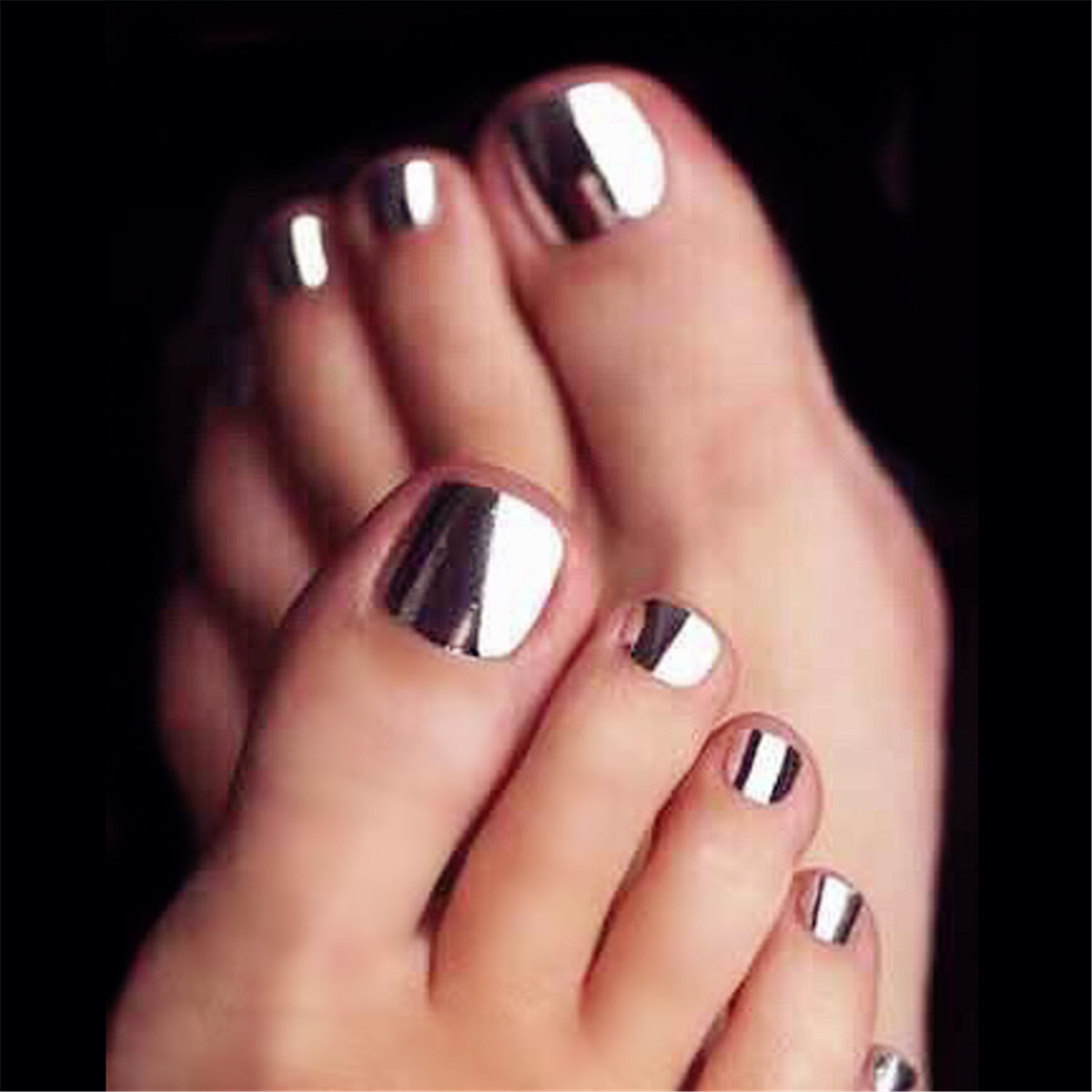 24psset Metal Color Toe False Nails Punk Nail Design Acrylic Nail