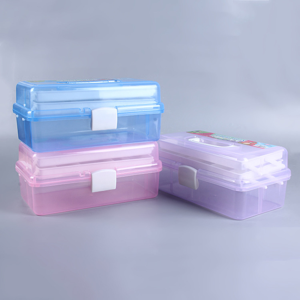 Clear plastic craft makeup organiser jewellery storage for Craft storage boxes with compartments