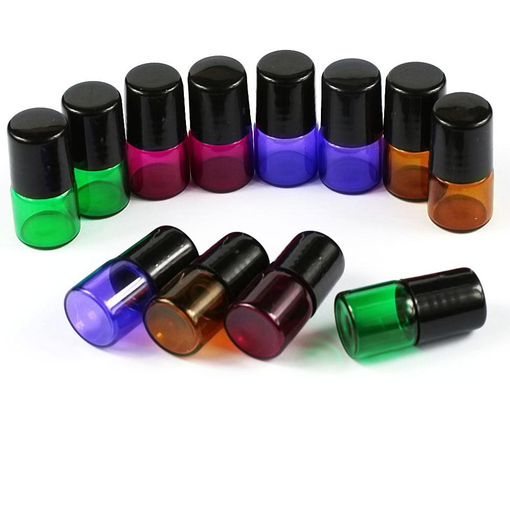 5-100Pcs 1ml Amber Roll On Glass Bottles Roller Ball ...
