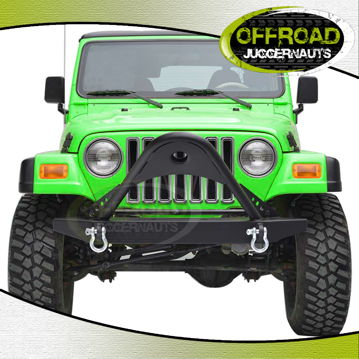 Black Textured Stinger Front Bumper D-rings For 87-06 Jeep
