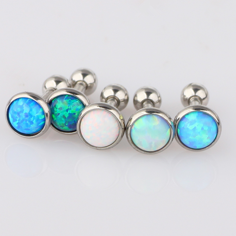 opal cartilage earrings 16g opal ear cartilage tragus helix bar earring stud 5147