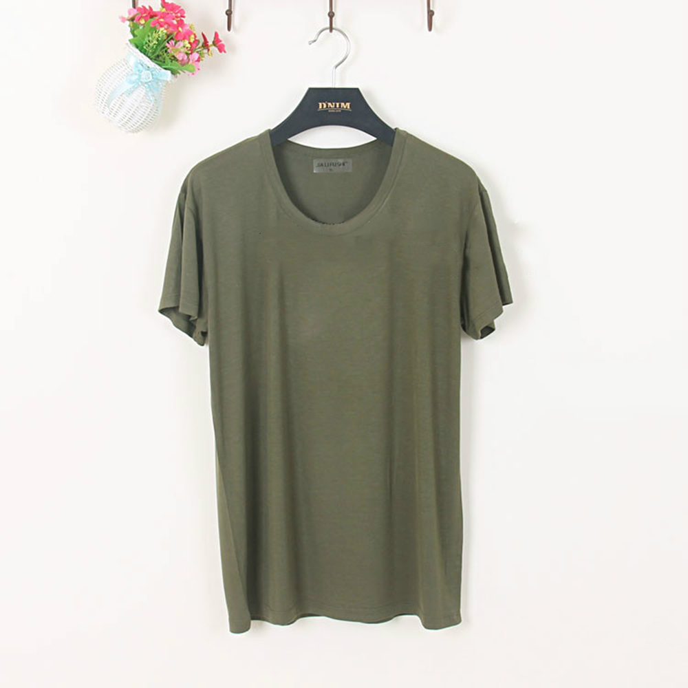 Soft modal men 39 s thin short sleeve cool tee round crew Shirts for thin guys