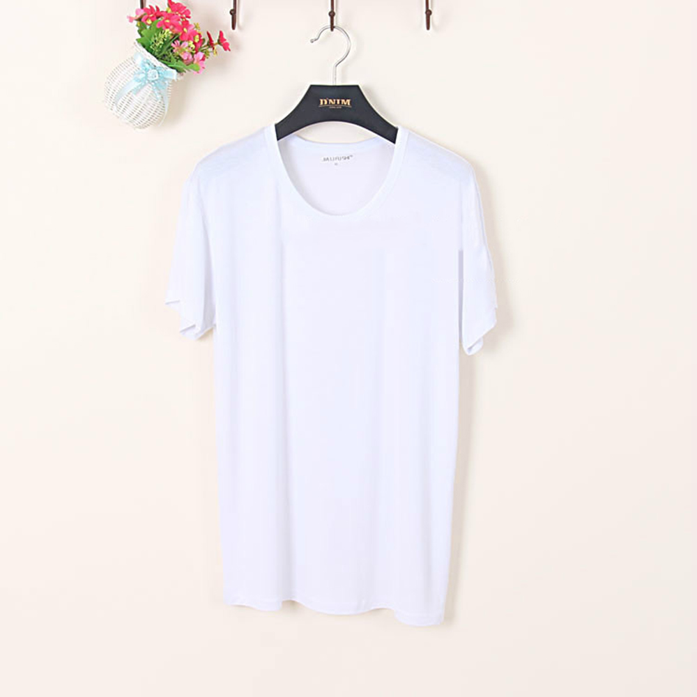 Soft modal men 39 s thin short sleeve cool tee round crew for Modal t shirts mens