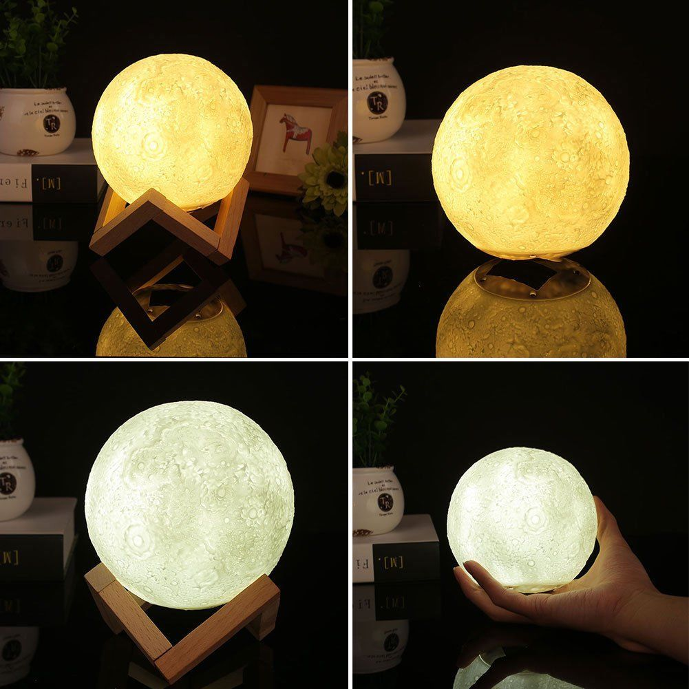 Moon Light For Bedroom: 3D Printing Luna Night Light LED Moon Lamp Touch Control