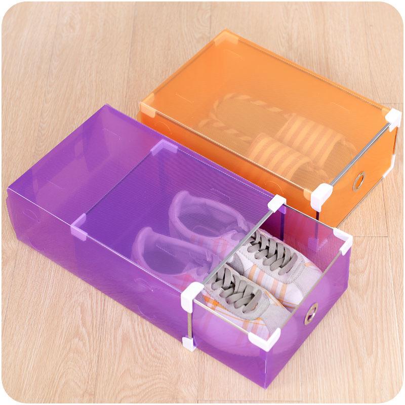 foldable clear plastic shoe box drawer stackable home storage box organiser ebay. Black Bedroom Furniture Sets. Home Design Ideas