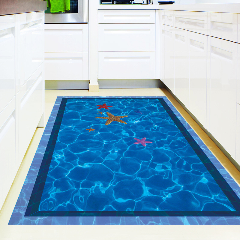 3d swimming pool large wall stickers home decor bathroom for Pool bathroom flooring