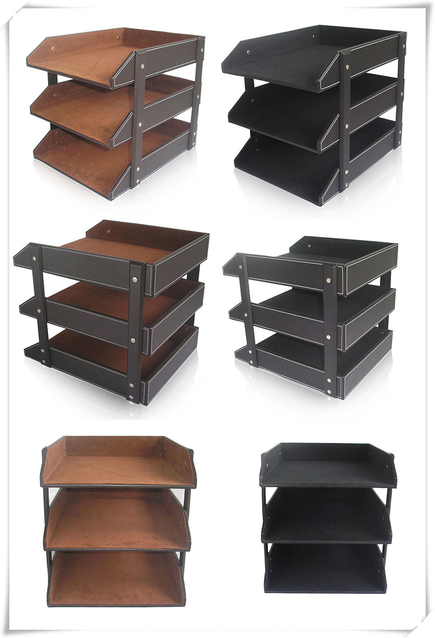 3 Tray Leather Office File Document Tray Case Rack Desk