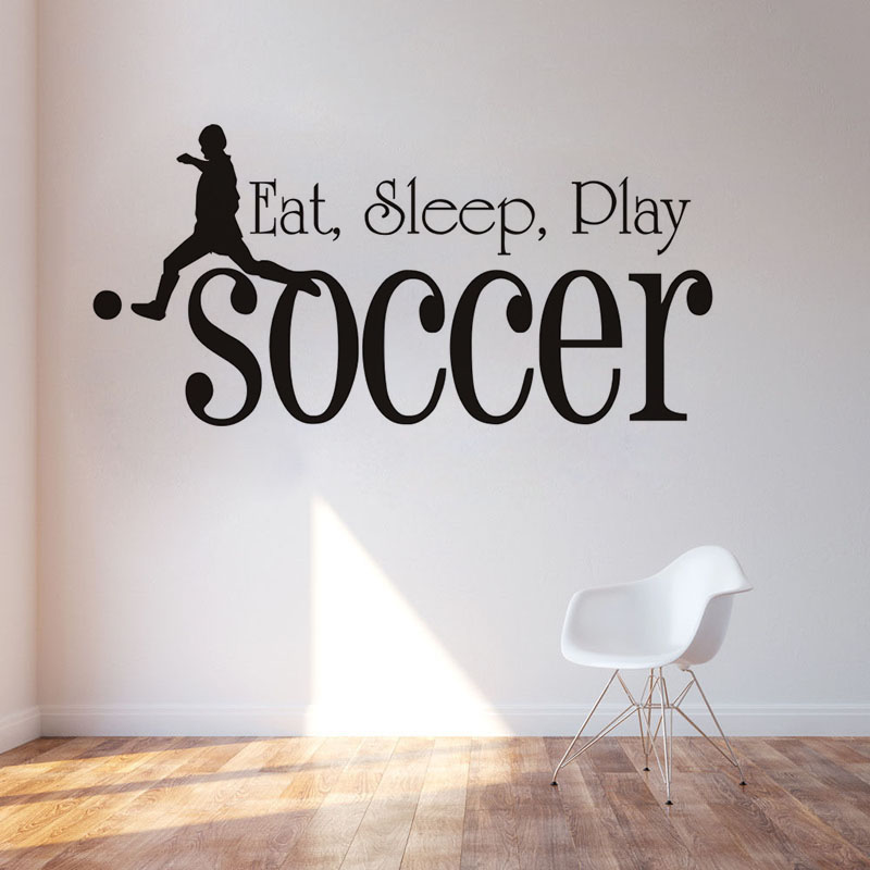 Kids Room Sport Wall Stickers Home Decor Eat Sleep Play Soccer Quote