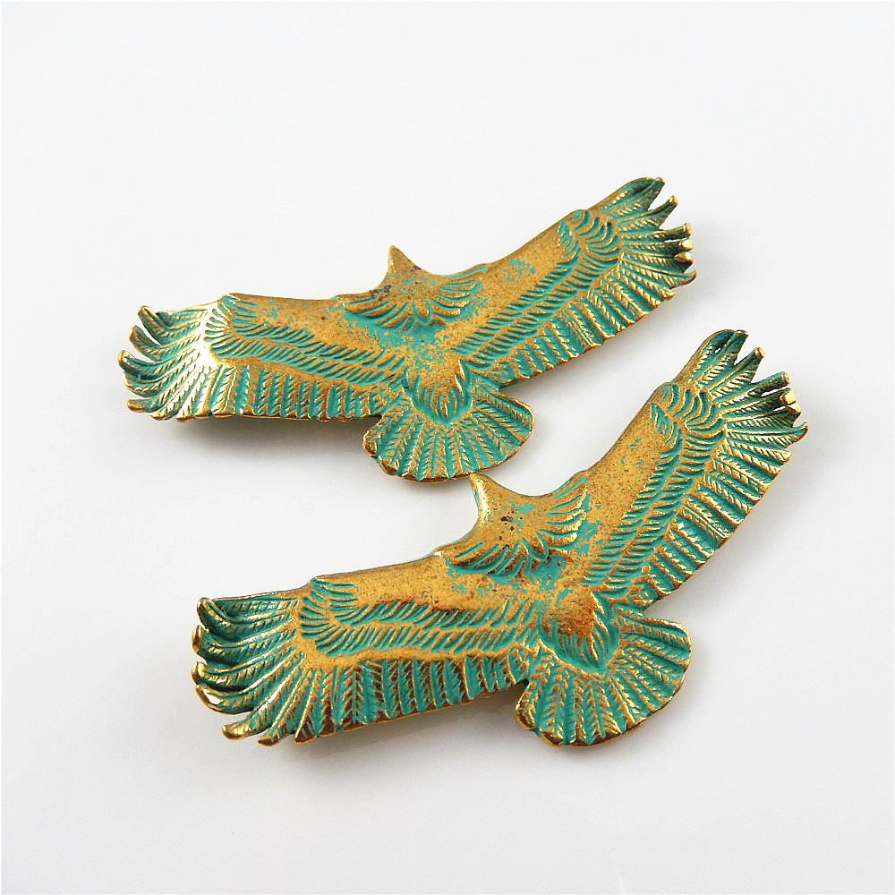 10 pcs Antique Copper Green Eagle Charm Necklace Pendant Findings 63x23mm 52651