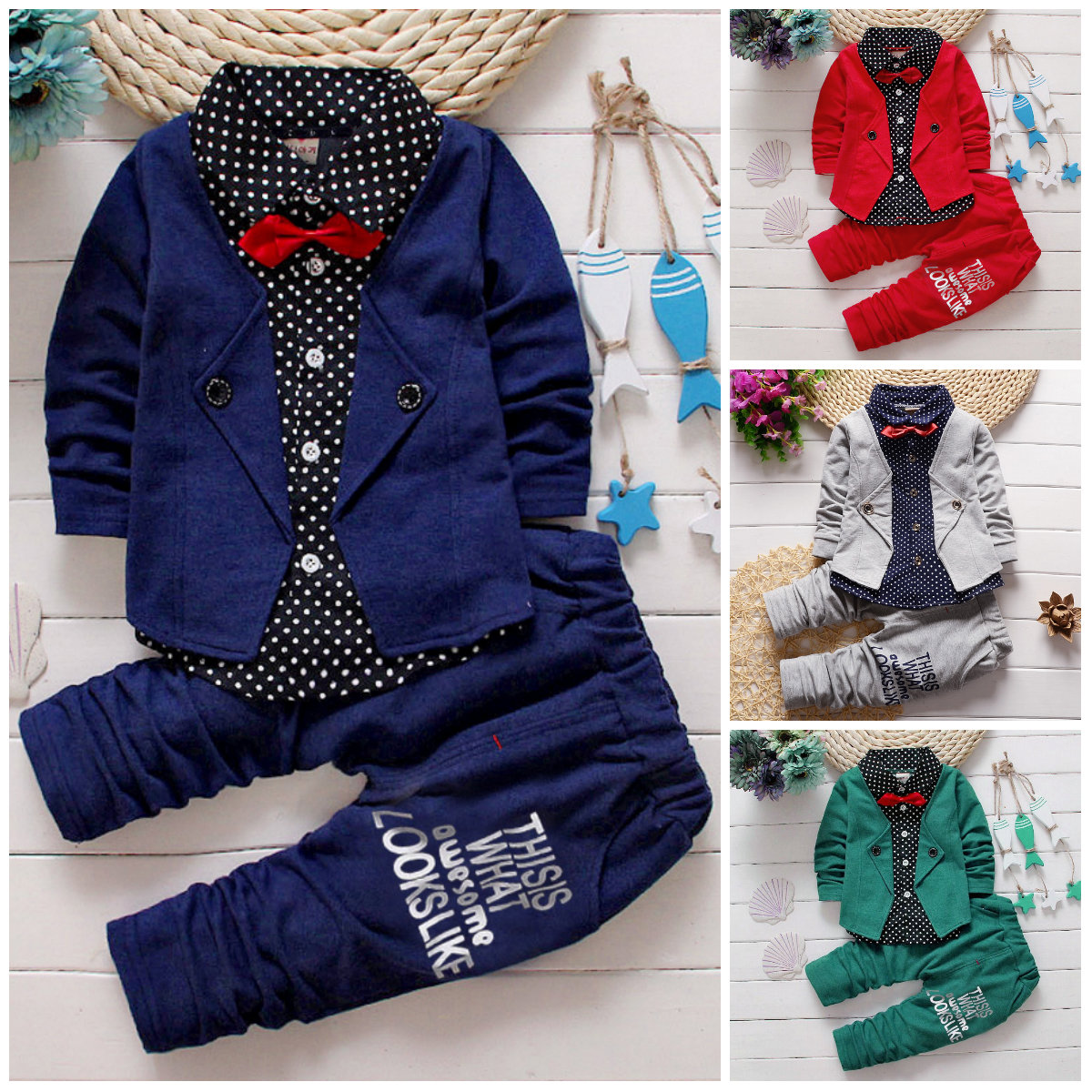 81f6f7f567a Details about 2pcs Kids Baby clothes baby boys clothes cotton top+pants  suit outfits gentleman