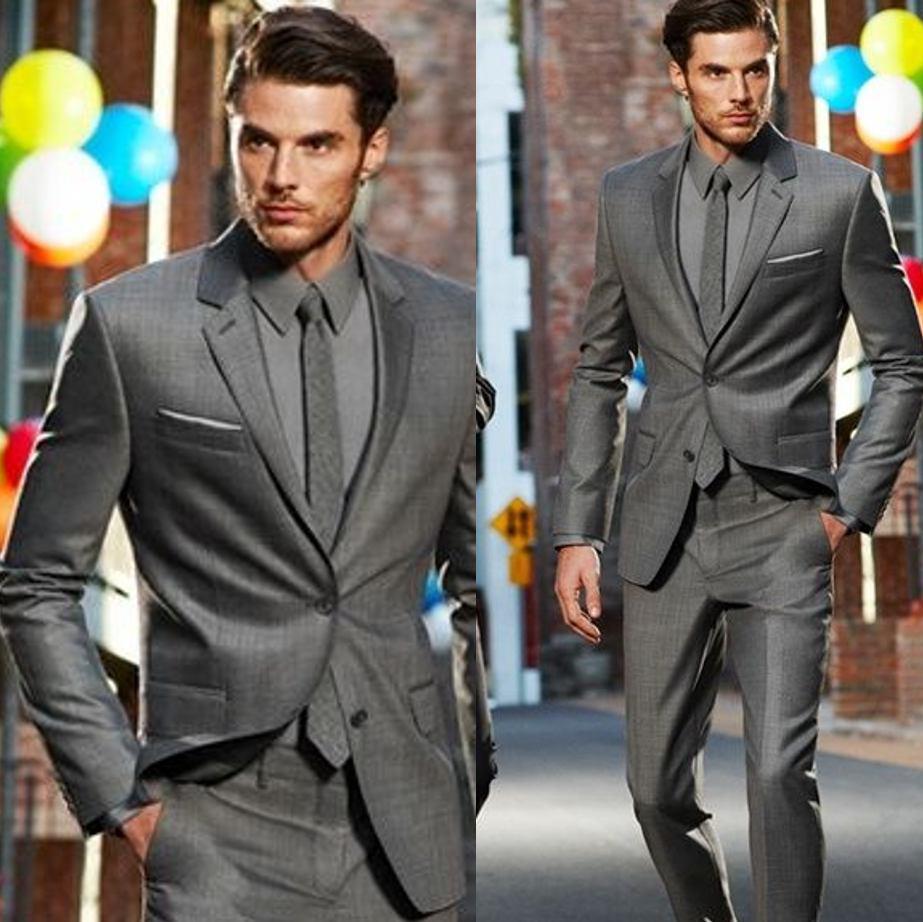 Custom Dark Gray Classic Groom Tuxedos Best Man Wedding Suit 2Pcs ...